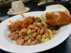 Food served at the Feast of the Virgin of Guadalupe, Tortugas Pueblo, NM.  © Norine Dresser photo collection, 2013.