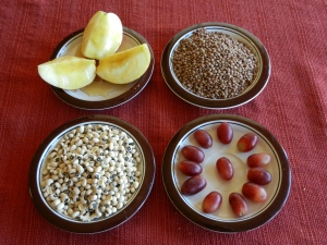 from left to right:  apples with honey; lentils; black-eyed peas; 12 grapes.  © Photo collection and text, Norine Dresser, 2013.