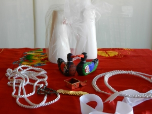 Multicultural Wedding Artifacts.  © Norine Dresser photo collection, 2014.  See explanation in following paragraph.