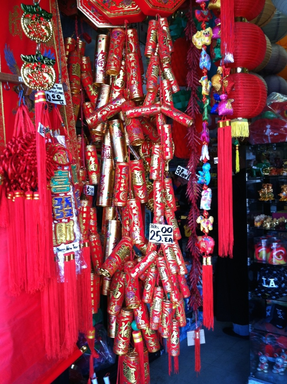 Los Angeles Chinatown, Year of the Ram.  Fake fireworks.  © Norine Dresser photo collection, 2015