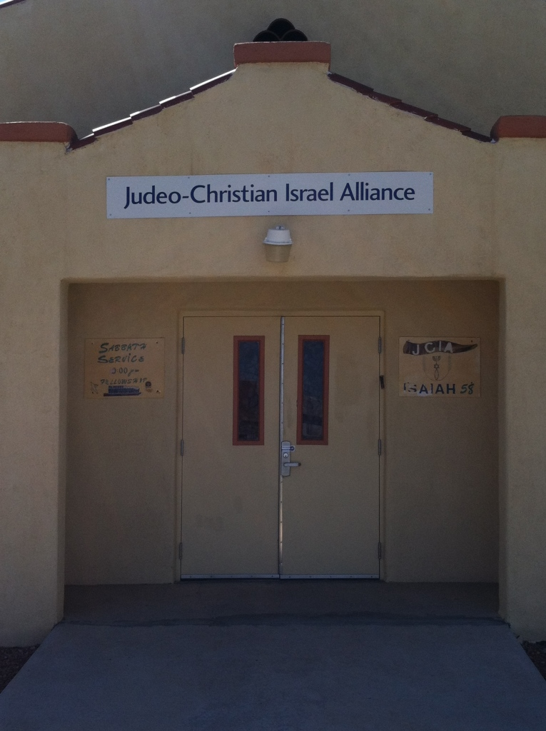Judeo-Christian Israel Alliance building in Las Cruces.  © Norine Dresser photo collection, 2015.