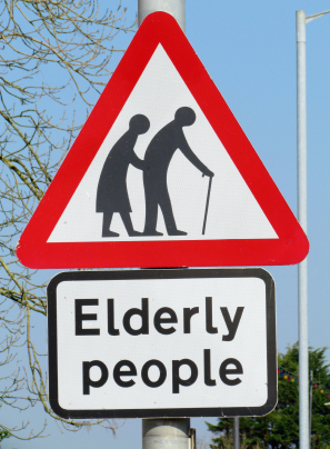 Traffic sign to assist elderly people.  © Norine Dresser photo collection, 2015.