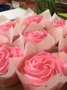Strawberry-flavored cupcakes. © Norine Dresser photo collection, 2015.