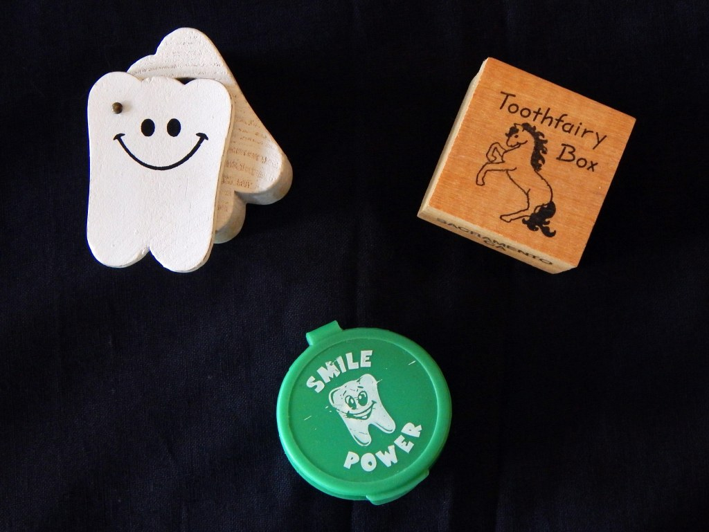 Tooth Fairy containers where children store their fallen teeth before exchanging them for monetary rewards. Photo by Mariah Chase. © Norine Dresser photo collection, 2015.