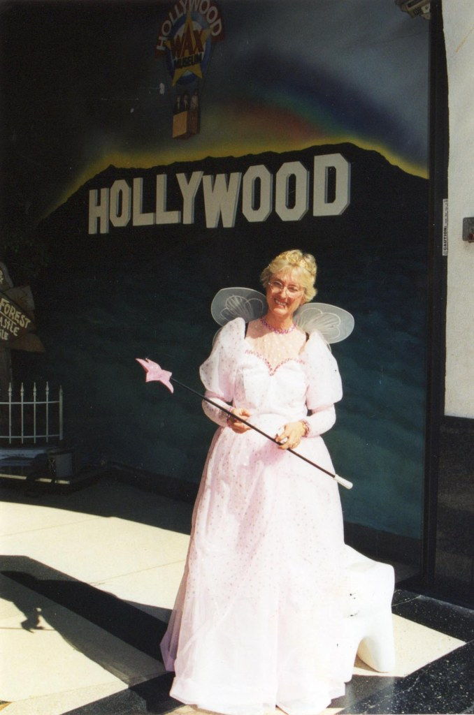 Dentist, Suzanne Wenzlaff, in her Tooth Fairy garb, preparing to march in the Hollywood Christmas parade. © Norine Dresser photo collection, 2015.