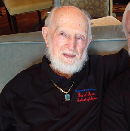 Amazing Fred Fox, who will be 102 on July 16, 2016, who still drives, lawn bowls, three times a week, and for whom the University of Arizona has renamed its music school, The Fred Fox School of Music.