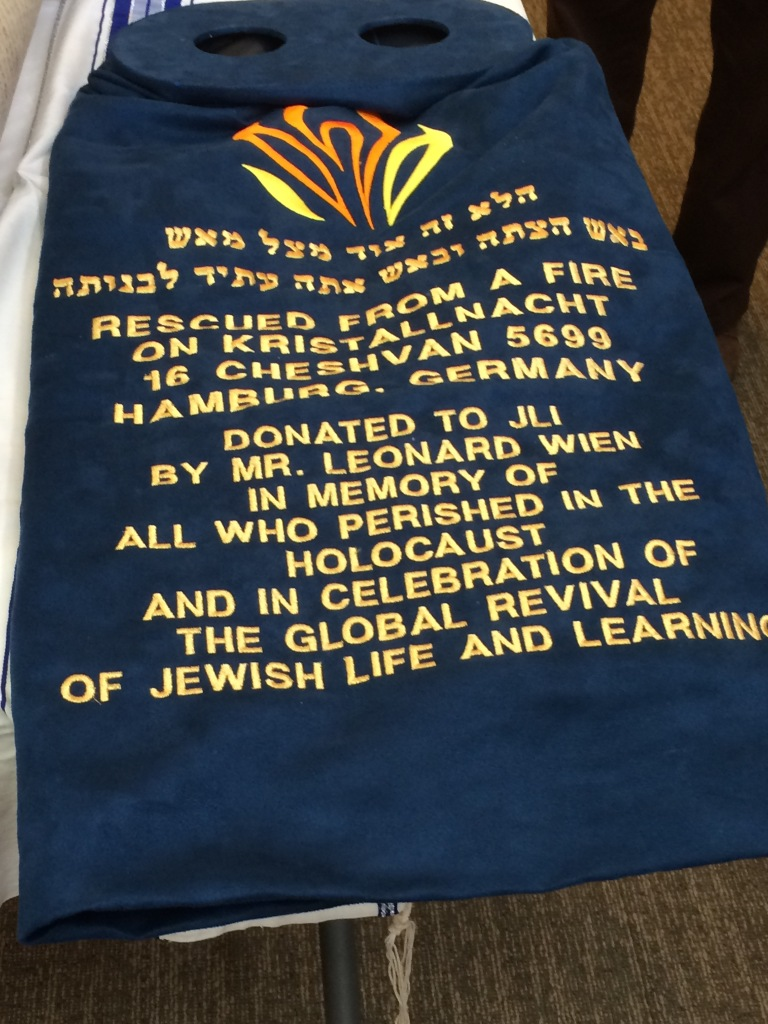 Torah cover with history of this Torah. © Norine Dresser photo collection, 2016.