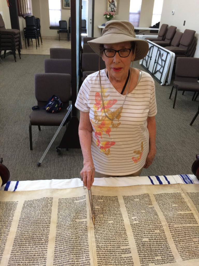 A staged photo of me reading from the Torah. Note the use of a yad (hand), a ritual pointer) to protect the scrolls from the oils on the fingers. © Norine Dresser photo collection, 2016.