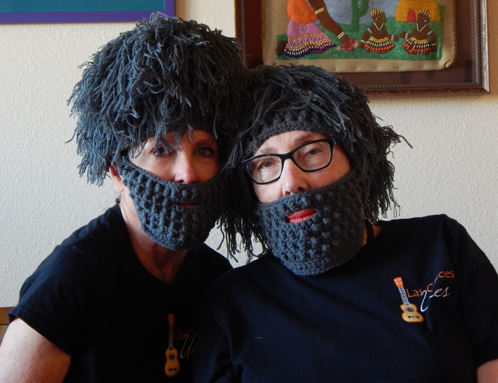 """Roxana Gillett and I in our beards to perform a parody of """"Hallelujah."""" Photo by Mariah Chase. © Norine Dresser photo collection, 2017."""