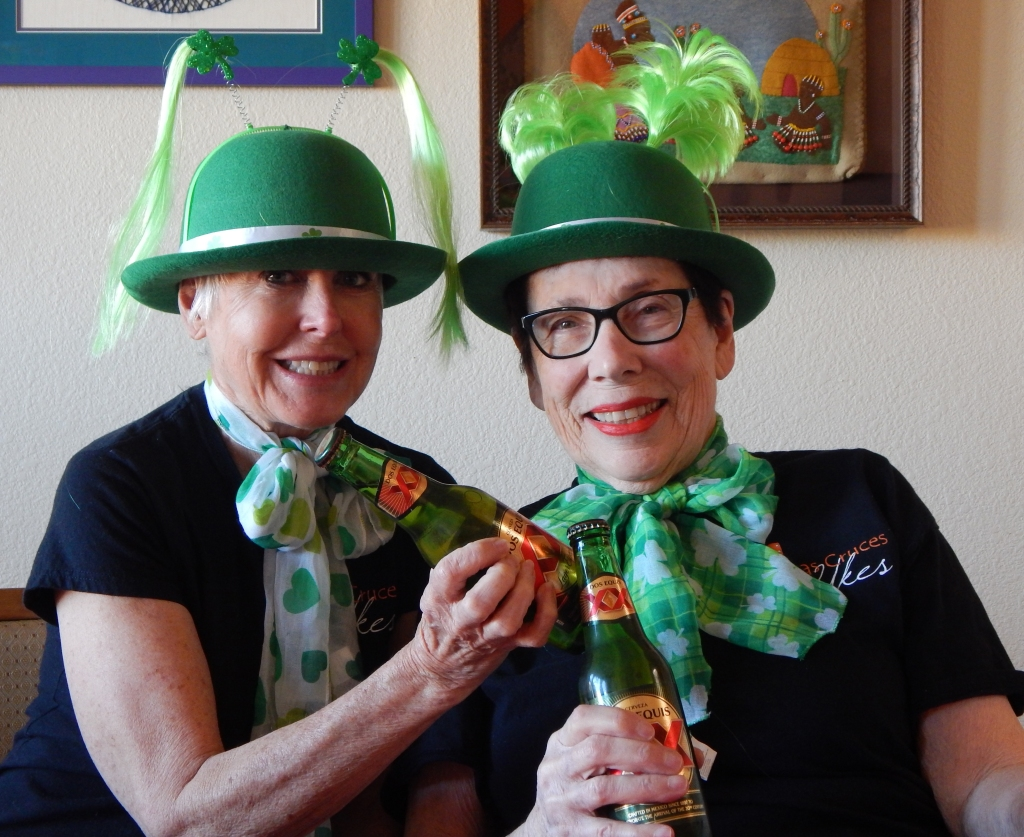 Roxana Gillett and I are ready for St. Patrick's Day. Photo by Mariah Chase. © Norine Dresser photo collection, 2017.