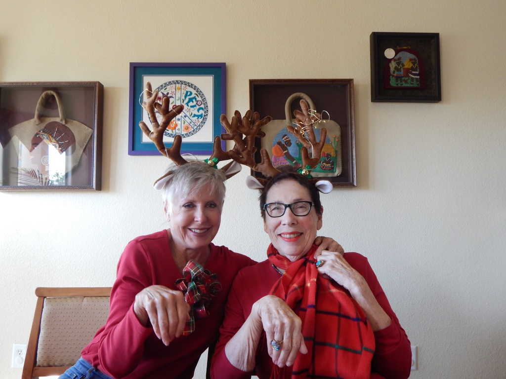 Roxana Gillett and I in cognito (sort-of) as reindeer. Photo by Mariah Chase. © Norine Dresser photo collection, 2017.
